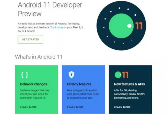 Showing Android 11 developer preview