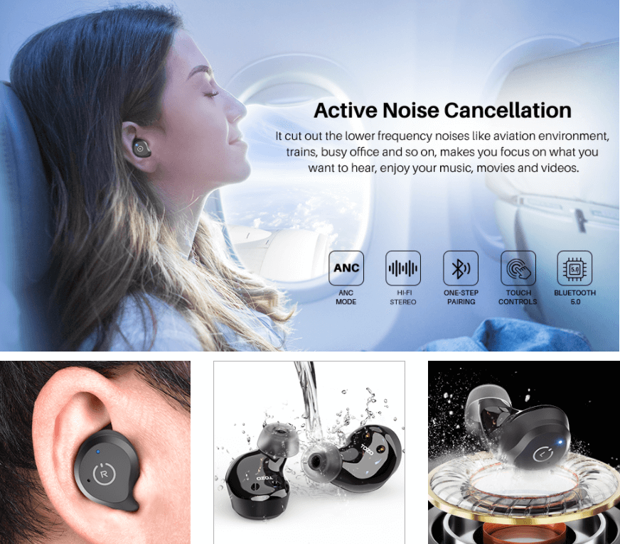 TOZO NC9 Wireless Earbuds Hybrid Active Noise Cancellation