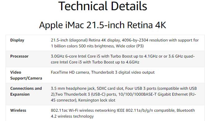 2020 Apple iMac 21.5-inch