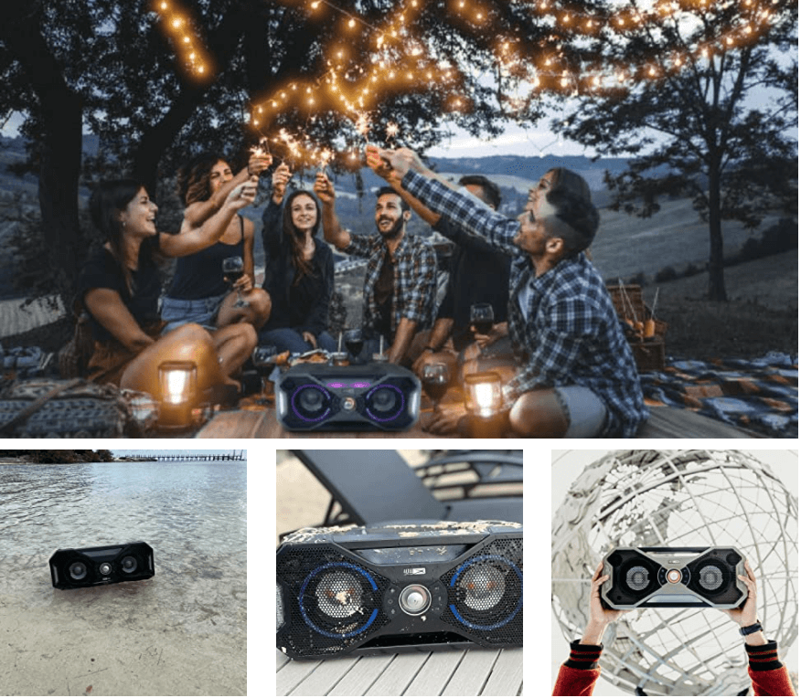 Group of young boys and girls enjoying party and listening music with Altec Lansing Mix Bluetooth Speaker