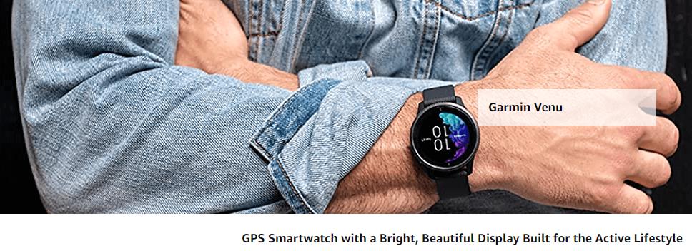 Men in Jeans shirt wearing Garmin Venu GPS Smartwatch