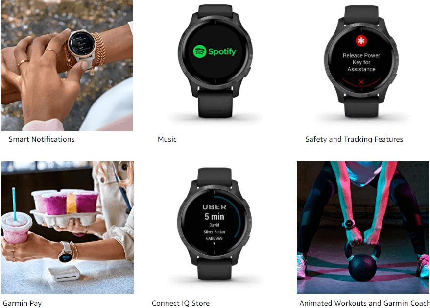 Showing display with different features of Garmin Venu Smartwatch