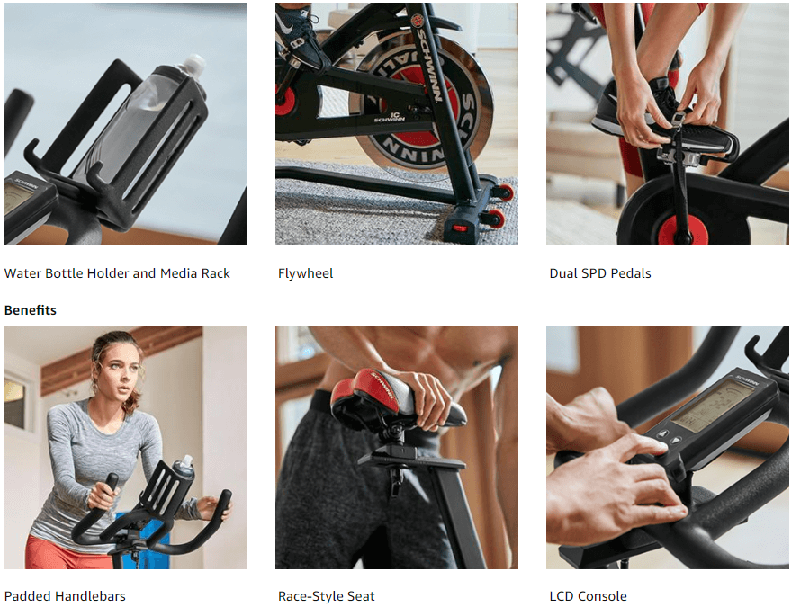 showing various features of Schwinn IC3 Indoor Cycling Bike