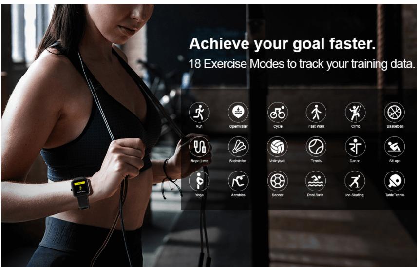 women wearing smart watch and doing workout
