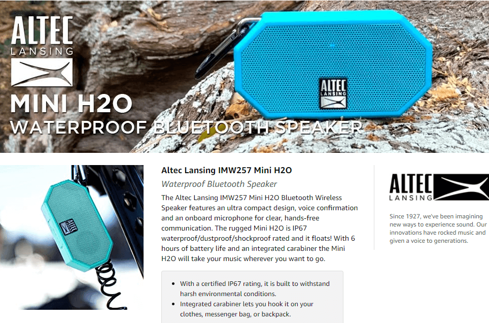 Altec Lansing Mini H2O Waterproof Speaker