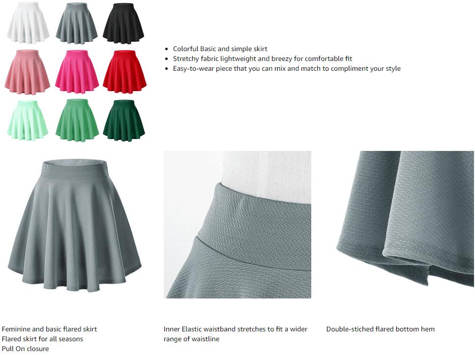 Urban CoCo Mini Skater Skirt Basic Versatile Stretchy for Women